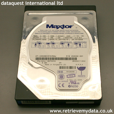 Slim Maxtor hard disk data recovery