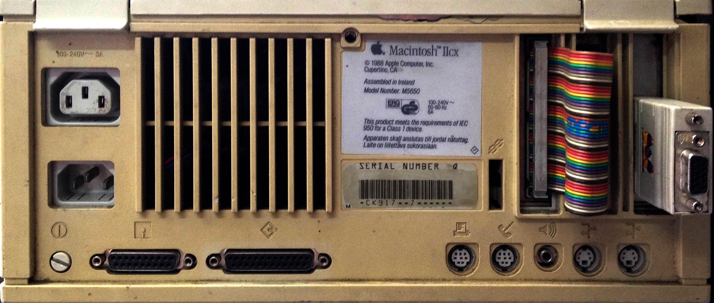 Macintosh IIcx Rear Panel