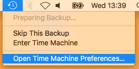 Open Time Machine Preferences
