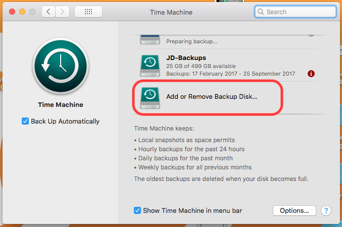 Click Add Or Remove Backup Disk